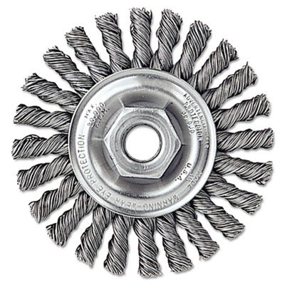 "Dualife twist-knot wire wheel, 4"""" dia, 7/8"""" trim .02 wire, 5/8"""" arbor, sold as 1 each"