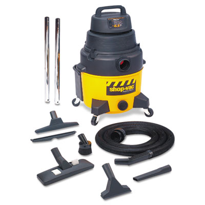 Industrial wet/dry vacuum, 6.5hp, 8gal capacity, 25lb, black/yellow, sold as 1 each
