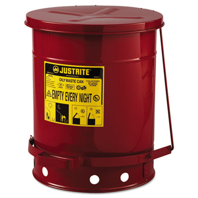Red oily waste can, 10gal, lever lid, sold as 1 each