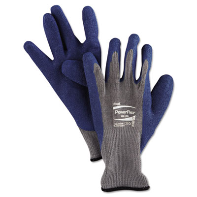 Powerflex gloves, blue/gray, size 10, 1 pair, sold as 1 pair