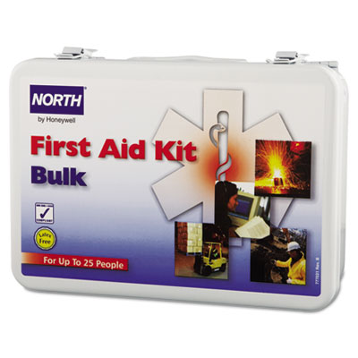 25-person bulk first aid kit, metal case, sold as 1 each