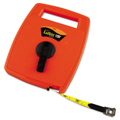 Hi-viz linear measuring tape measure, 1/2in x 100ft, orange, fiberglass tape, sold as 1 each