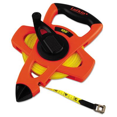 "Engineer hi-viz fiberglass measuring tape, 1/2""""x100ft, yellow blade, orange case, sold as 1 each"