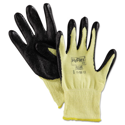 Hyflex 500 light-dty gloves, size 8, kevlar/nitrile, yellow/black, 12 pairs, sold as 12 each