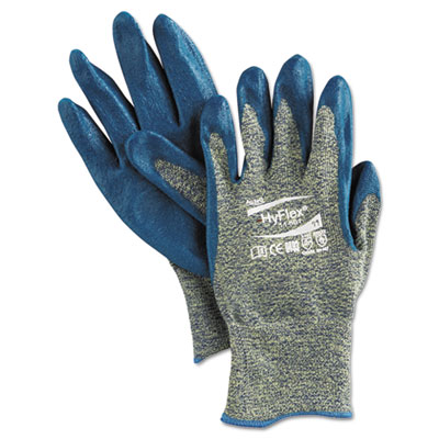 Hyflex 501 medium-duty gloves, size 11, kevlar/nitrile, blue/green, 12 pairs, sold as 12 each