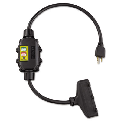 In line gfci interrupter, 2 foot cable, 12/3 awg, 15a, 125v, sold as 1 each