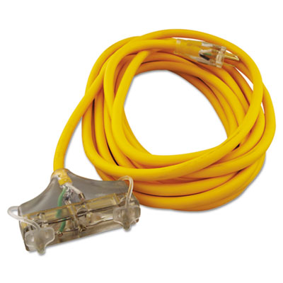 Polar/solar outdoor extension cord, 25ft, three-outlets, yellow, sold as 1 each