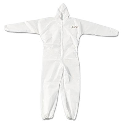 A20 elastic back, cuff & ankle coveralls, zip, xl, white, 24/carton, sold as 1 carton, 24 each per carton