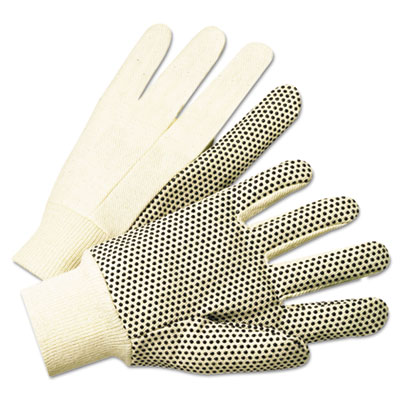 1000 series pvc dotted canvas gloves, white/black, large, 12 pairs, sold as 1 dozen