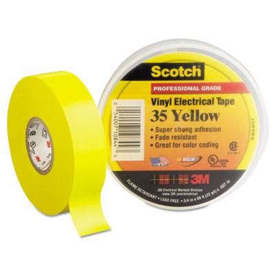 """Scotch 35 vinyl electrical color coding tape, 3/4"""" x 66ft, yellow, sold as 1 roll"""
