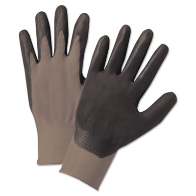 Nitrile-coated gloves, gray, nylon knit, foam palm, medium, sold as 12 each