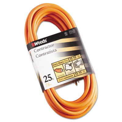Outdoor round vinyl extension cord, 12/3 awg, 25ft, orange, sold as 1 each