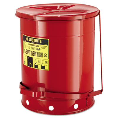 Red oily waste can, 14gal, lever lid, sold as 1 each