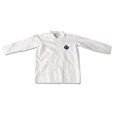 Tyvek lab coat, white, snap front, 2 pockets, large, 30/carton, sold as 30 each