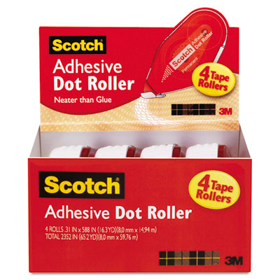 Adhesive dot roller value pack, 0.3 in x 49 ft., 4/pk, sold as 1 package