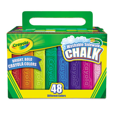 Washable sidewalk chalk, 48 assorted bright colors, 48 sticks/set, sold as 1 set