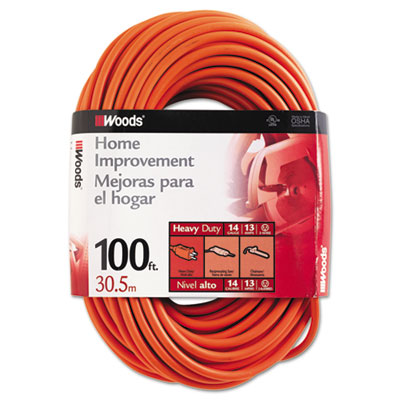 Outdoor round vinyl extension cord, 14/3 awg, 100ft, orange, sold as 1 each