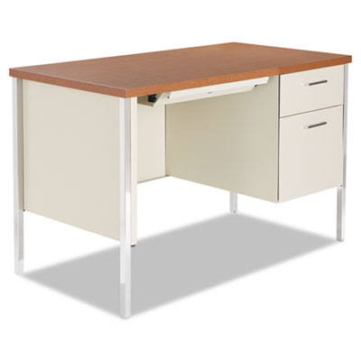 Single pedestal steel desk, metal desk, 45-1/4w x 24d x 29-1/2h, cherry/putty, sold as 1 each