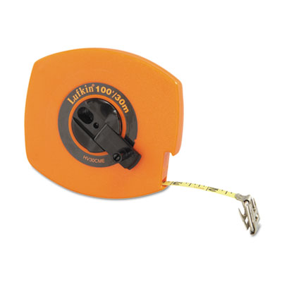 "Hi-viz universal lightweight measuring tape, 3/8"""" x 100ft, orange, sold as 1 each"