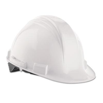 A-safe peak hard hat, white, rain trough, sold as 1 each