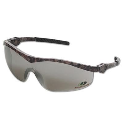 Mossy oak safety glasses, forest-floor-camo frame, silver-mirror lens, sold as 1 each