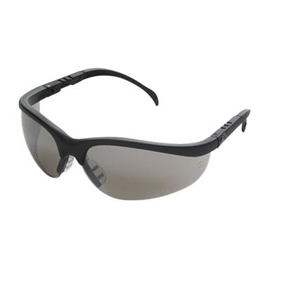 Klondike protective eyewear, black frame, silver mirror lens, sold as 1 each