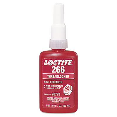 266 high-strength/high-temp threadlocker, 50 ml, red-orange, sold as 1 each