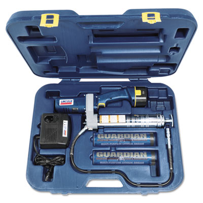 Powerluber grease gun, with case and battery, sold as 1 kit