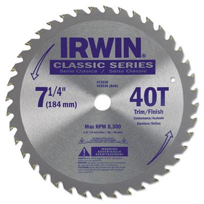 "40t carbide-tipped circular saw blade, trim/finish, 7-1/4"""" diameter, sold as 1 each"