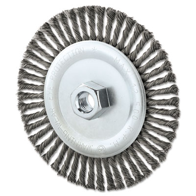 "Stringer bead wheel brush, 6"""" diameter, .02"""" wire, 5/8-11 tpi, sold as 1 each"