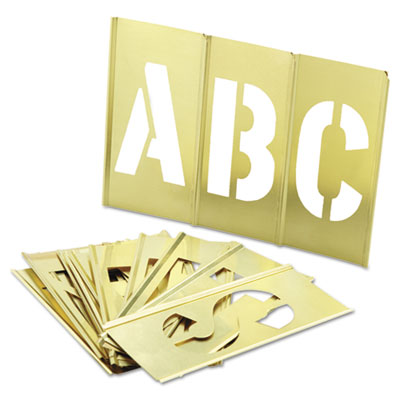 33-piece single-letter brass stencil set, sold as 33 each
