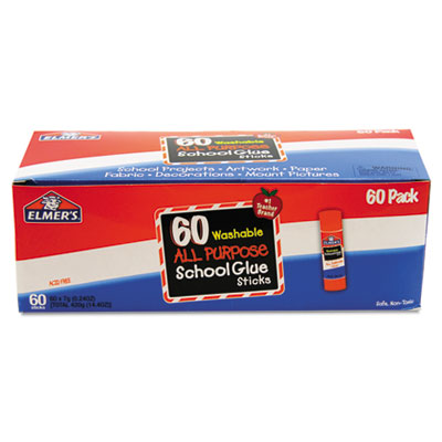 Washable all purpose school glue sticks, clear, 60/box, sold as 1 box, 60 each per box