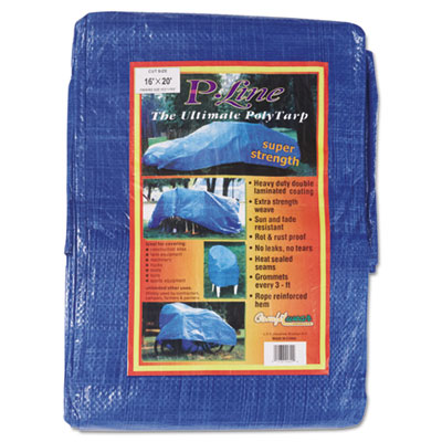 Multiple use tarpaulin, polyethylene, 16 ft x 20 ft, blue, sold as 1 each