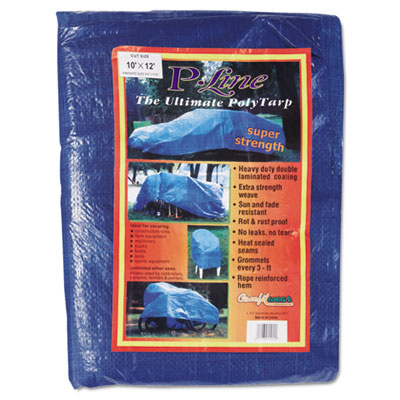 Multiple use tarpaulin, polyethylene, 10 ft x 12 ft, blue, sold as 1 each