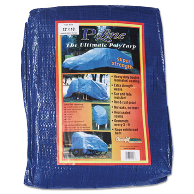 Multiple use tarpaulin, polyethylene, 12 ft x 16 ft, blue, sold as 1 each
