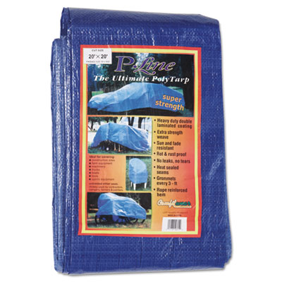 Multiple use tarpaulin, polyethylene, 20 ft x 20 ft, blue, sold as 1 each