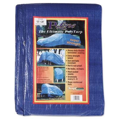 Multiple use tarpaulin, polyethylene, 12 ft x 20 ft, blue, sold as 1 each