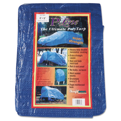 Multiple use tarpaulin, polyethylene, 6 ft x 8 ft, blue, sold as 1 each