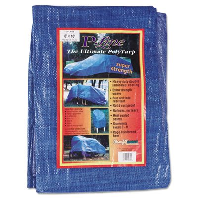 Multiple use tarpaulin, polyethylene, 8 ft x 10 ft, blue, sold as 1 each