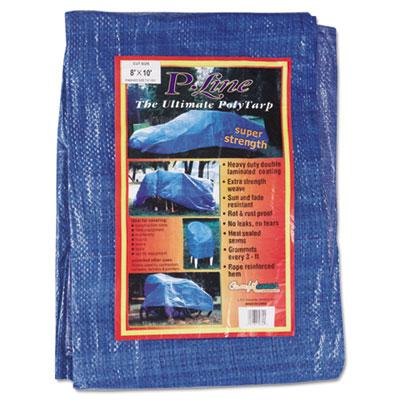 Multiple use tarpaulin, polyethylene, 8 ft x 10 ft, blue, sold as 1 each