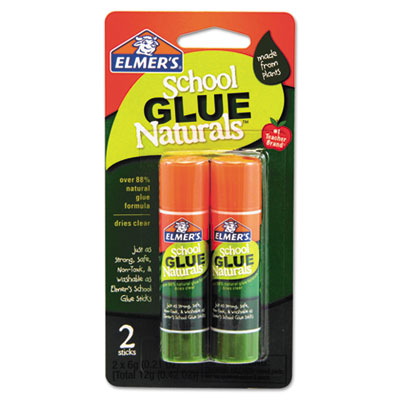 School glue naturals, clear, 0.21 oz stick, 2 per pack, sold as 1 package