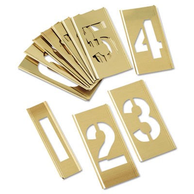 15-piece single-number brass stencil set, sold as 15 each