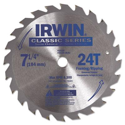 "24t carbide-tipped circular saw blade, 7-1/4"""" diameter, sold as 1 each"