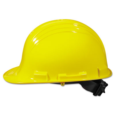 A-safe peak hard hat, yellow, ratchet 4-point suspension, sold as 1 each