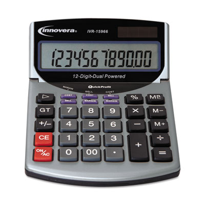 15966 minidesk calculator, 12-digit lcd, sold as 1 each
