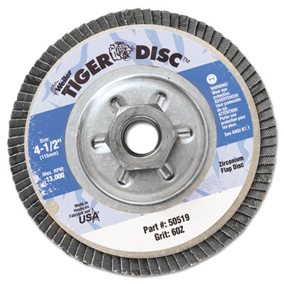 "Tiger disc angled style flap disc, 4-1/2"""" diameter, sold as 1 each"