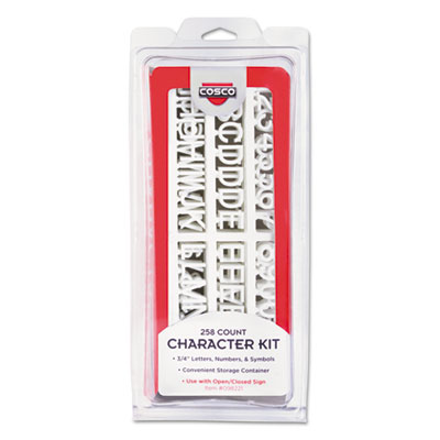 Character kit, letters, numbers, symbols, white, helvetica, 258 pieces, sold as 1 each