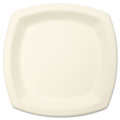 "Bare eco-forward sugarcane dinnerware perfect pak, 6 7/10"" plate, ivory, 125/pk, sold as 1 carton, 8 package per carton"