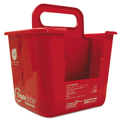 Triple take table turners wipes dispenser, 9.219 x 7.24 x 10.19, white/red, sold as 1 each