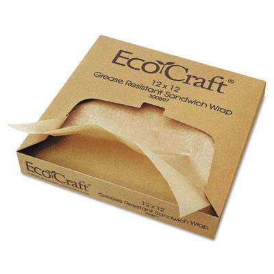 Ecocraft grease-resistant paper wrap/liner, 12 x 12, 1000/box, 5 boxes/carton, sold as 1 carton, 5000 each per carton